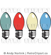 Royalty Free Retro Vector Clip Art of Christmas Lights by Andy Nortnik
