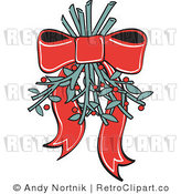 Royalty Free Retro Vector Clip Art of Mistletoe by Andy Nortnik