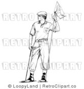 Royalty Free Retro Vector Clipart of a Black and White Golfer and Flag by LoopyLand