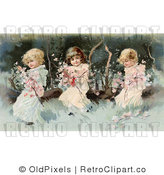 Royalty Free Retro Vintage Victorian Scene of Three Little Girls Sitting on a Fallen Tree and Making a Garland of the Pink Spring Blossoms Circa 1890 by OldPixels