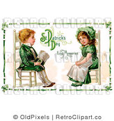 Royalty Free Retro Vintage Victorian St Patricks Day Scene of a Young Irish Boy and Girl Dressed in Green and Sitting in Chairs Across from Each Other Circa 1911 by OldPixels