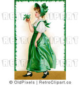 Royalty Free Retro Vintage Victorian St Patricks Day Scene of a Young Irish Woman in a Green Dress and Bonnet Carrying a Small Plant Circa 1907 by OldPixels
