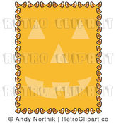 Royalty Free Vector Clip Art of a Candy Corn Retro Border with Orange Jack-o'-lantern Halloween Background by Andy Nortnik