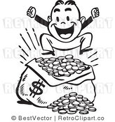 Royalty Free Vector Clip Art of a Happy Retro Man Jumping up and down over a Large Sack of Coins with a Money Symbol (Black and White) by BestVector