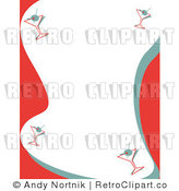 Royalty Free Vector Clip Art of a Red and Green Stationery Retro Background with a Border of Martinis by Andy Nortnik