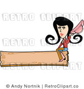 Royalty Free Vector Clip Art of a Retro Cowgirl Sitting on a Blank Wooden Banner Sign by Andy Nortnik