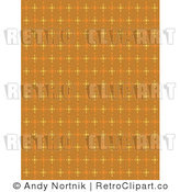 Royalty Free Vector Clip Art of a Retro Orange Brown Background Pattern with Yellow Stars by Andy Nortnik