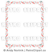 Royalty Free Vector Clip Art of a Retro Stationery Background Border with Confetti Sprinkles and Martinis by Andy Nortnik