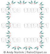 Royalty Free Vector Clip Art of a Stationery Background Border with Retro Green Holly and Red Berries by Andy Nortnik