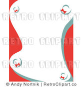 Royalty Free Vector Clip Art of a Stationery Background with Red and Green Christmas Styled Wreaths by Andy Nortnik