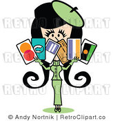 Royalty Free Vector Clip Art of a Wealthy Retro Girl Displaying Six Credit Cards by Andy Nortnik