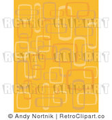 Royalty Free Vector Clip Art of an Abstract Retro Orange Background with Squares and Rectangles by Andy Nortnik