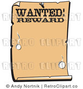 Royalty Free Vector Clip Art of an Old Looking Western Paper with the Word Wanted Rewards with Bullet Holes and Blank Copyspace by Andy Nortnik