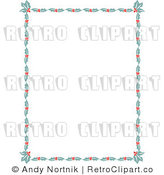 Royalty Free Vector Clip Art of Holly Leaves and Berries Border Around a Blank White Copyspace Background by Andy Nortnik