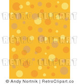 Royalty Free Vector Clip Art of Retro Orange and Yellow Bubbles and Circles on a Seamless Halloween Styled Background by Andy Nortnik