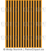 Royalty Free Vector Clip Art of Vertical Black and Orange Stripes on a Halloween Styled Background by Andy Nortnik