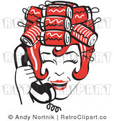 Royalty Free Vector Retro Clip Art of a 1950's Housewife Laughing with Hair Curlers While Talking on a Landline Telephone by Andy Nortnik