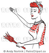 Royalty Free Vector Retro Clip Art of a 1950's Housewife or Maid Holding a Feather Duster While Standing in a Presentation Stance by Andy Nortnik