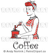 Royalty Free Vector Retro Clip Art of a Red Haired 1950's Housewife or Maid Grinding Coffee Beans with a Manual Grinder by Andy Nortnik