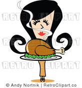 Royalty Free Vector Retro Clip Art of a Retro Girl with Roasted Turkey on a Platter During Thanksgiving or Christmas Holidays by Andy Nortnik