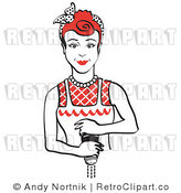 Royalty Free Vector Retro Clipart of a Housewife Grinding Fresh Pepper over Food by Andy Nortnik