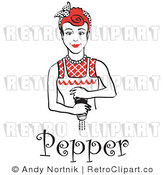 Royalty Free Vector Retro Clipart of a Red Haired Housewife Maid Grinding Fresh Pepper over Food While Cooking by Andy Nortnik