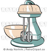 Royalty Free Vector Retro Clipart of an Old Electric Kitchen Mixer with Bowl by Andy Nortnik