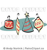 Royalty Free Vector Retro Clipart of Four Christmas Tree Ornaments with Hooks by Andy Nortnik