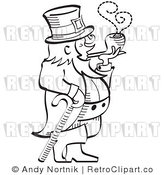 Royalty Free Vector Retro Illustration of a Black and White Line Art Leprechaun Leaning on a Cane While Smoking a Pipe by Andy Nortnik