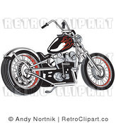 Royalty Free Vector Retro Illustration of a Black Motorcycle with Red Decal Flames on the Gas Tank by Andy Nortnik