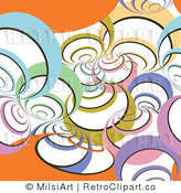 Royalty Free Vector Retro Illustration of a Colorful Spirals on Orange Background by MilsiArt