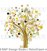 Royalty Free Vector Retro Illustration of a Full Grown Colorful Tree with Circular Foliage by BNP Design Studio