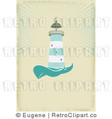 Royalty Free Vector Retro Illustration of a Green and White Lighthouse Beaconing Rays of Light over the Sea by Eugene