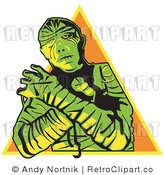 January 8th, 2011: Royalty Free Vector Retro Illustration of a Green Mummy with Arms Crossed and Pyramid Background by Andy Nortnik
