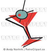 Royalty Free Vector Retro Illustration of a Green Olive in a Red Martini Glass by Andy Nortnik