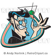 Royalty Free Vector Retro Illustration of a Grinning Man Holding an Empty Martini Glass with a Green Olive and Toothpick by Andy Nortnik