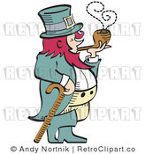 Royalty Free Vector Retro Illustration of a Leprechaun Leaning on Cane While Smoking a Wooden Tobacco Pipe by Andy Nortnik