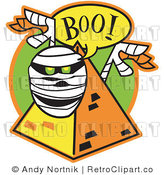 January 8th, 2011: Royalty Free Vector Retro Illustration of a Mummy with Glowing Green Eyes Jumping out of a Pyramid While Screaming Boo! by Andy Nortnik