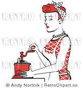 Royalty Free Vector Retro Illustration of a Red Haired Housewife or Female Maid Using a Manual Hand Crank Coffee Grinder by Andy Nortnik