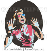 Royalty Free Vector Retro Illustration of a Scared Woman Wearing 3d Glasses, Screaming and Waving Her Hands Around by R Formidable