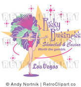 Royalty Free Vector Retro Illustration of a Sexy Las Vegas Showgirl Dancing Beside a Show Club Casino Sign by Andy Nortnik