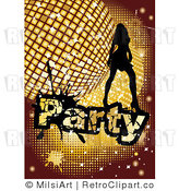Royalty Free Vector Retro Illustration of a Silhouetted Sexy Girl Dancing over a Golden Disco Party Background by MilsiArt