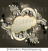 Royalty Free Vector Retro Illustration of an Antiqued Brown Thought Cloud on Grungy Styled Background by MilsiArt