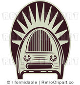 Royalty Free Vector Retro Illustration of an Old Fashioned Maroon and White Colored Vintage Radio by R Formidable