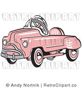 January 8th, 2011: Royalty Free Vector Retro Illustration of an Old Pink Convertible Toy Car by Andy Nortnik