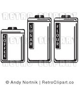 Royalty Free Vector Retro Illustration of Three Black and White Food Storage Containers: Coffee, Sugar and Flour by Andy Nortnik