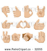 Vector Clip Art of 11 Retro 8-Bit Pixel Art Human Hands - Digital Collage by AtStockIllustration