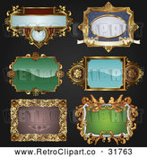 Vector Clip Art of 6 Retro Antique Frames - Digital Collage by AtStockIllustration