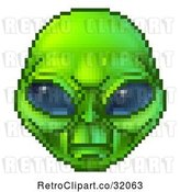 Vector Clip Art of 8 Bit Pixel Art Video Game Styled Alien Face by AtStockIllustration