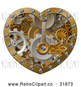 Vector Clip Art of a 3d Retro Steampunk Love Heart of Gears by AtStockIllustration